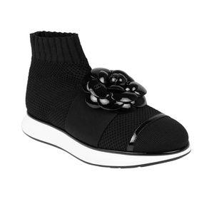 CHANEL Black Knit Sock Sneakers 5.5 US 36.5 EU